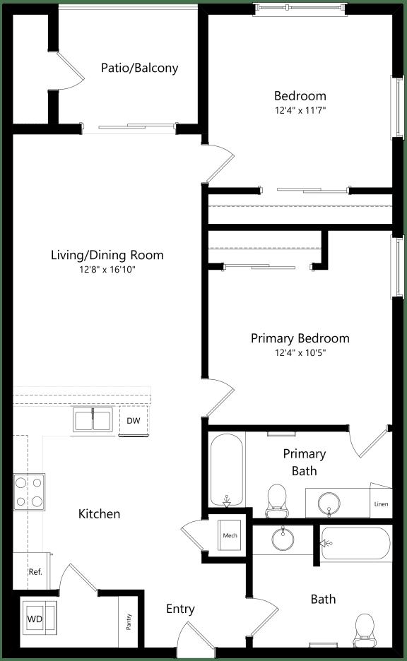 Floor Plan  2B two bedroom two bathroom at Alpine Vista, Colorado Springs, Colorado
