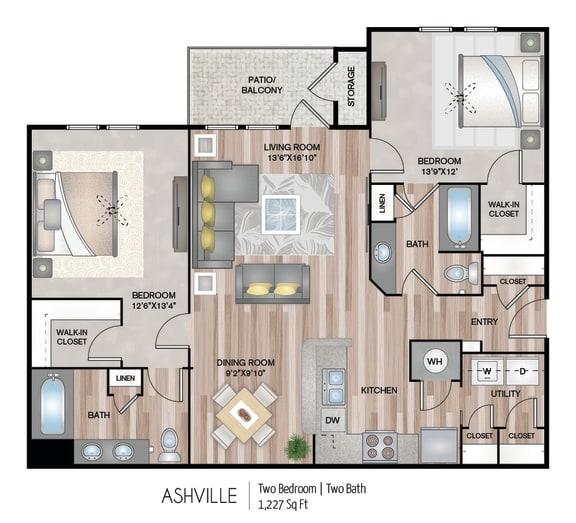 Floor Plan  Two bedroom Two bathroom Floor Plan at Belmont Place, Marietta, 30067