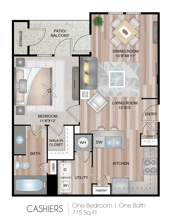 Floor Plan  One Bedroom One Bath Floor Plan at Belmont Place, Georgia