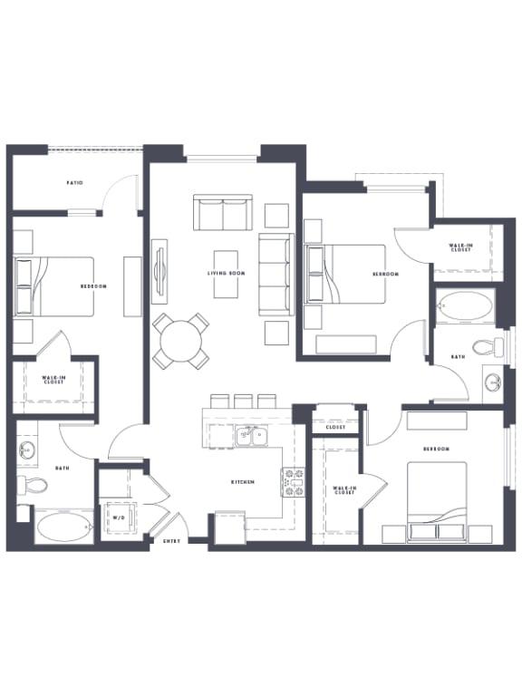 Floor Plan  C1 3x2 1386 sf