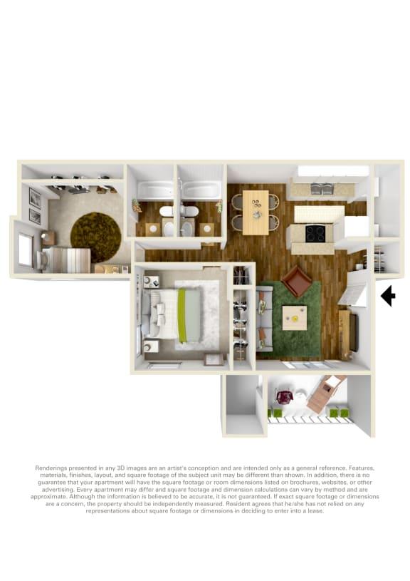 Floor Plan  Canyon Creek 2 bed 1 bathroom