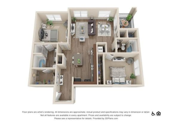 Floor Plan  Two Bedroom C Floor Plan at Rockvue, Broomfield, CO, 80021