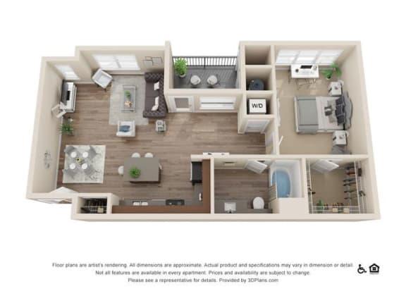 Floor Plan  One Bedroom A Floor Plan at Rockvue, Broomfield, CO