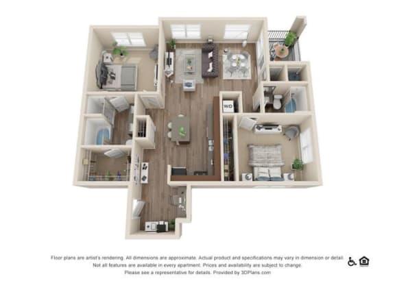 Floor Plan  Two Bedroom Floor Plan at Rockvue, Broomfield, Colorado