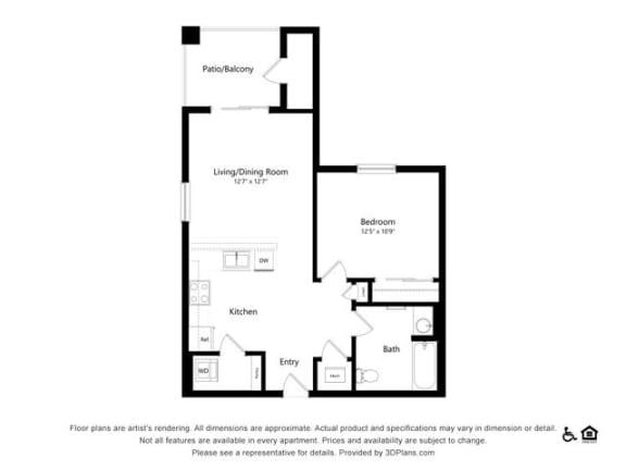 Floor Plan  1B one bedroom one bathroom at Alpine Vista, Colorado Springs, CO, 80922