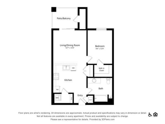 Floor Plan  1C one bedroom one bathroom at Alpine Vista, Colorado Springs, CO