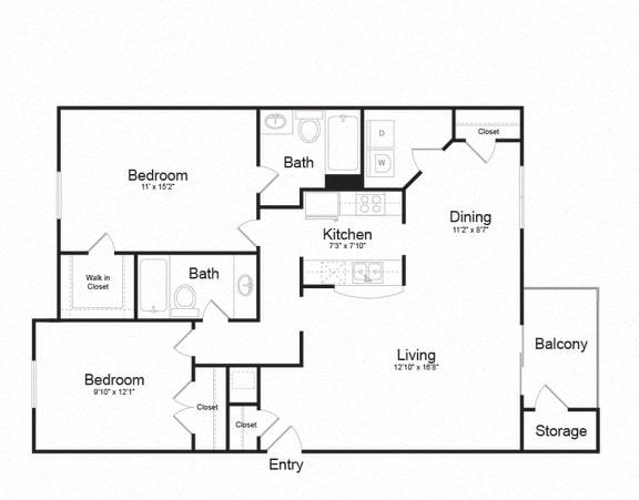 Floor Plan  2 Bed 2 Bath Floor plan at Ellicott Grove, Ellicott City