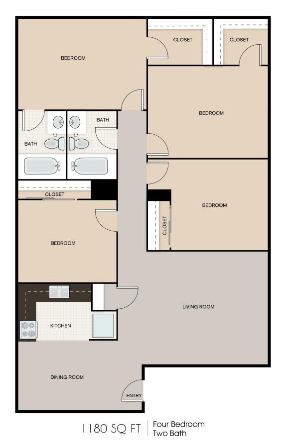 Floor Plan  1180 SQFT 4 Bed 2 Bath