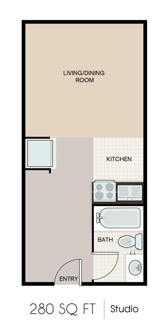 Floor Plan  280-SQFT-STUDIO