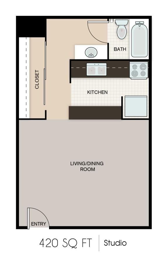 Floor Plan  420-SQFT-STUDIO