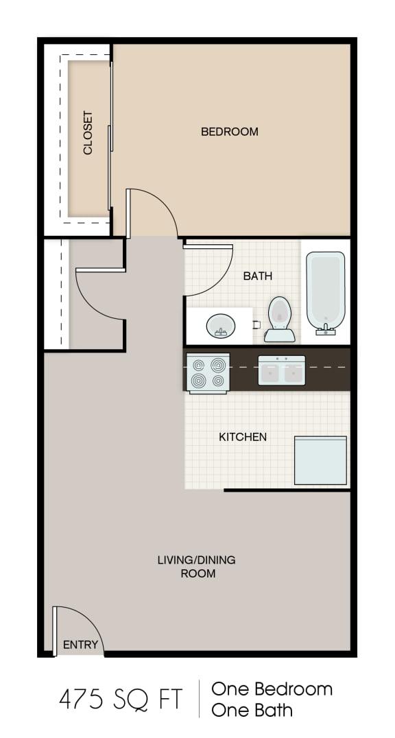 Floor Plan  475-SQFT-STUDIO