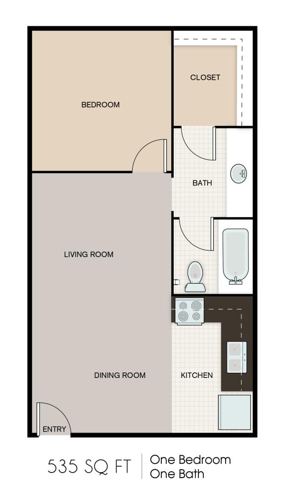 Floor Plan  535 SQFT STUDIO