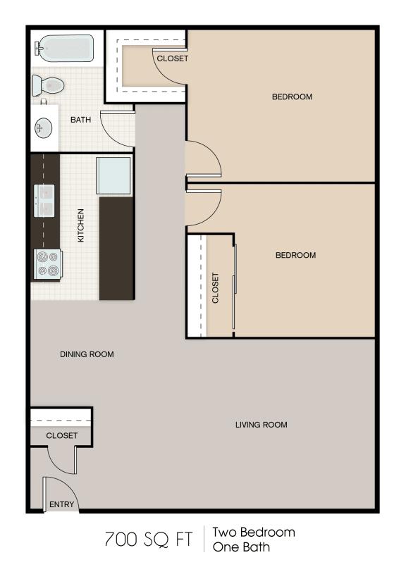 Floor Plan  700SQFT 2 Bed 1 Bath