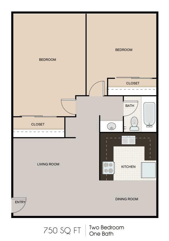 Floor Plan  750 SQFT 2 Bed 1 Bath