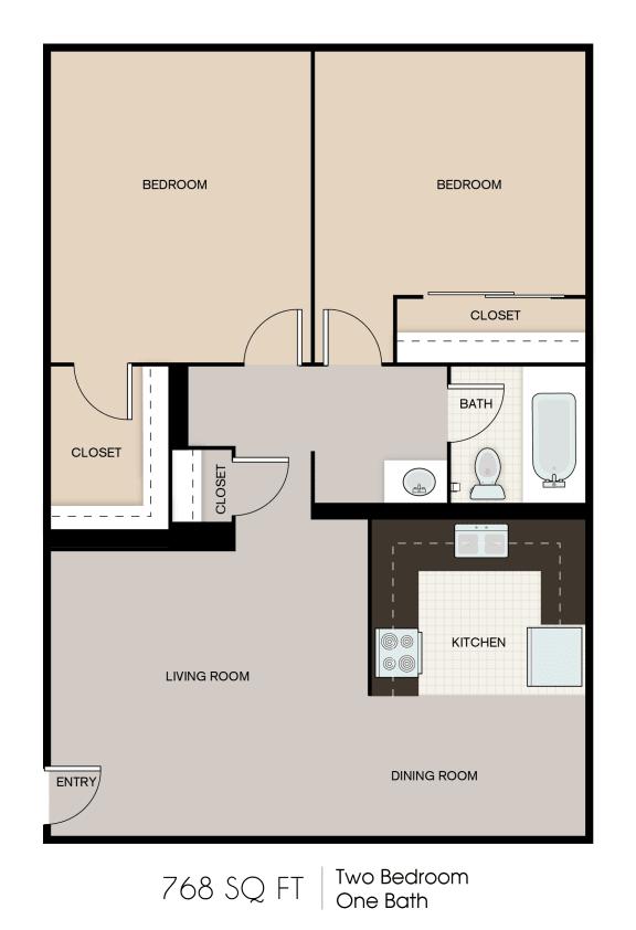 Floor Plan  768 SQFT 2 Bed 1 Bath