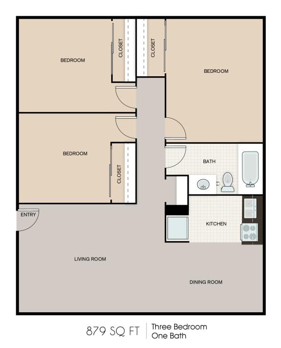Floor Plan  879 SQFT 3 Bed 1 Bath