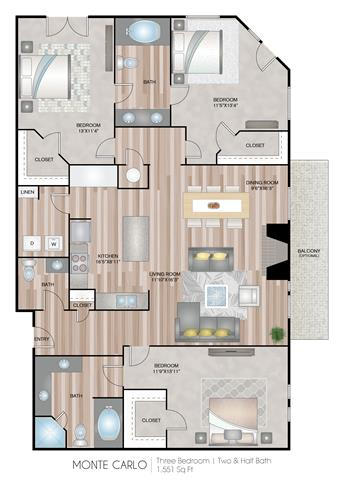 Floor Plan  MonteCarlo Floor Plan at Notting Hill, Atlanta