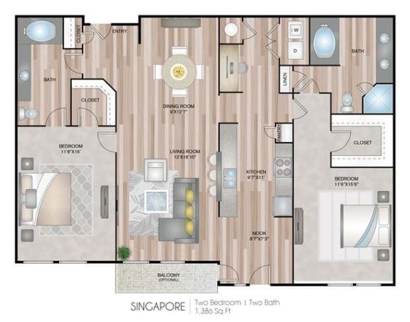 Floor Plan  Singapore Floor Plan at Notting Hill, Atlanta, 30346