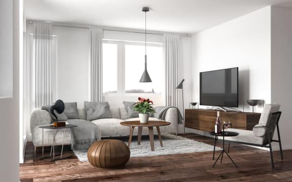 Modern Living Room at Altair at Riverwalk, West Haven