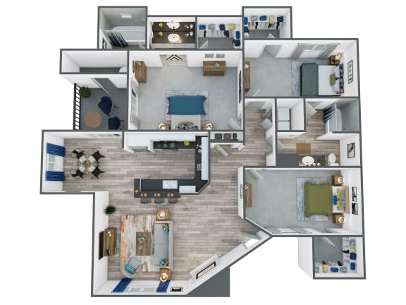 Floor Plan  Three Bedroom, Two Bathroom at The Springs at Continental Ranch