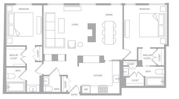Floor Plan  b20d Floor Plan at Nob Hill Tower, California, 94109