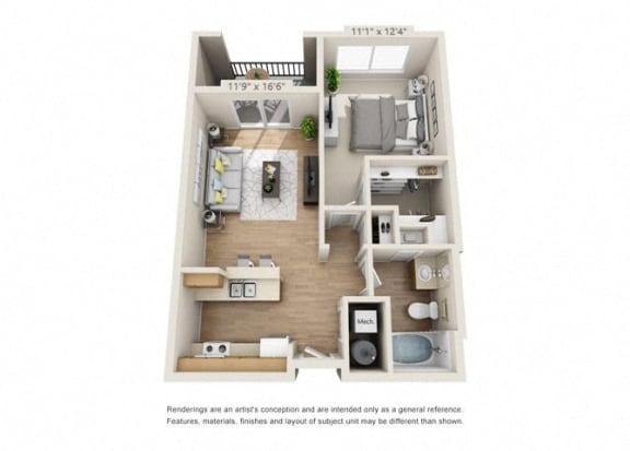 Floor Plan  One Bedroom at 206, Hillsboro, Oregon