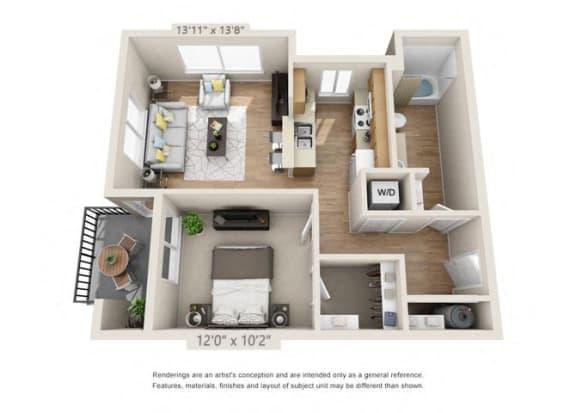 Floor Plan  One Bedroom at 206, Hillsboro