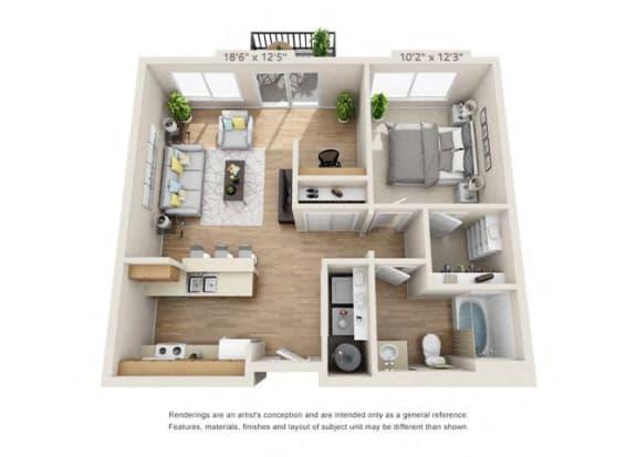 Floor Plan  One Bedroom at 206, Oregon, 97006
