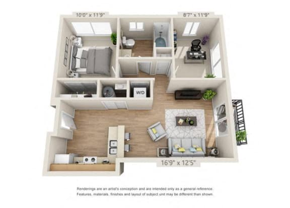 Floor Plan  One Bedroom at 206, Hillsboro, OR, 97006