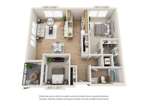 Floor Plan  Two Bedroom at 206, Oregon, 97006