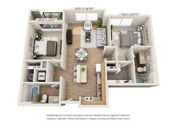 Floor Plan  Two Bedroom at 206, Hillsboro, OR, 97006