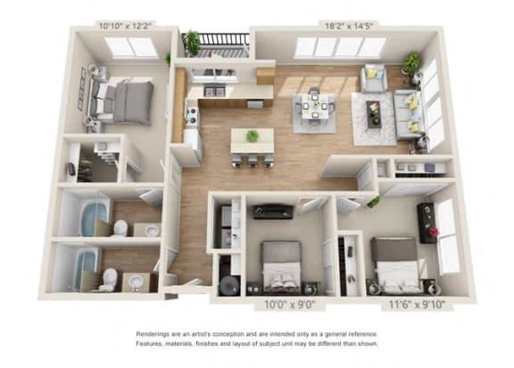 Floor Plan  Three Bedroom at 206, Hillsboro, OR