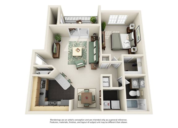 Floor Plan  Uptown Buckhead Apartment Homes - 1 Bedroom 1 Bath Apartment