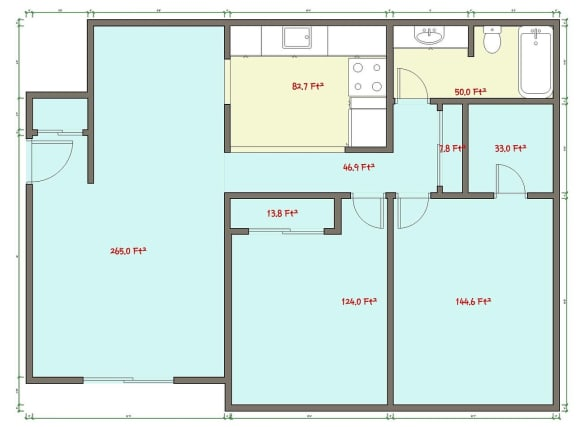 Floor Plan  2 Bed 1 Bath Floor Plan at Veri at Timberhill, Corvallis