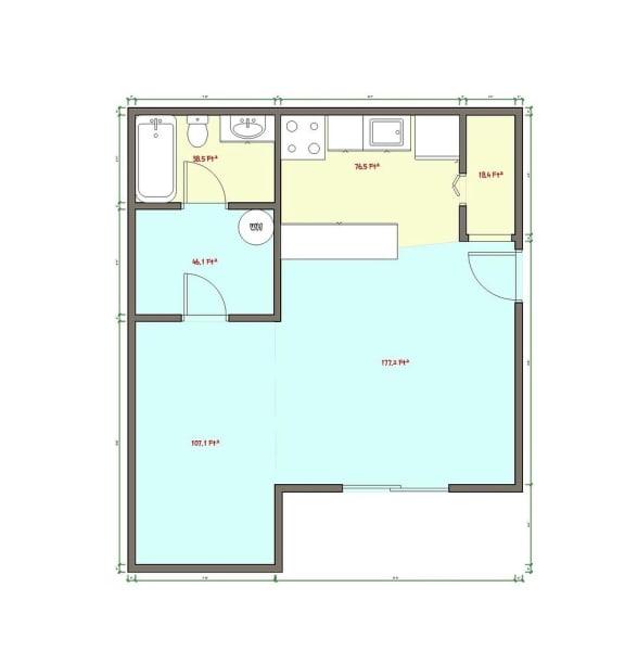 Floor Plan  Studio Floor Plan at Veri at Timberhill, Corvallis, OR