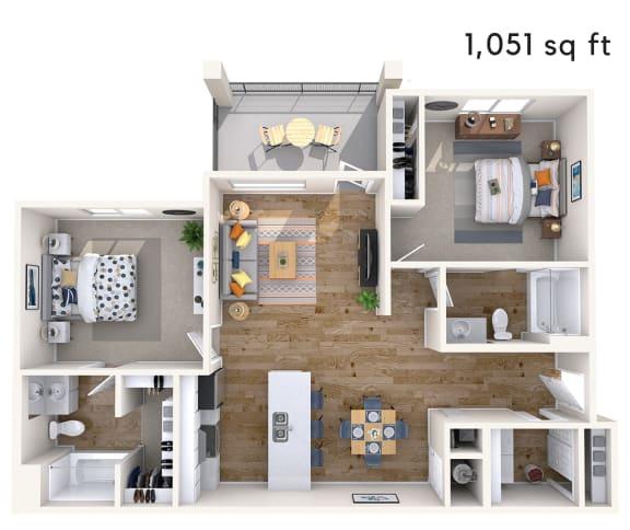 Floor Plan  2 bed 2 bath 1051 sf