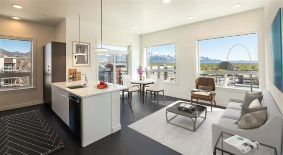 Kitchen With Dining Area at Quattro, Salt Lake City, 84111