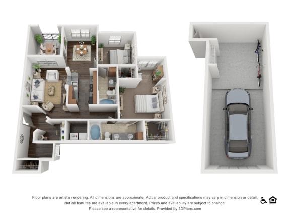Floor Plan  B3 Floor Plan at Villas at Stone Oak Ranch, Austin, TX, 78727