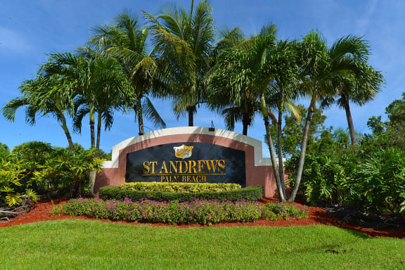 Welcome Sign at St. Andrews Palm Beach Apartments, West Palm Beach