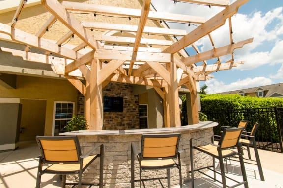 outdoor bar with outdoor tv