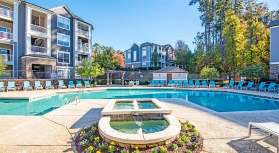 Swimming Pool with Lounge Seating at Centerview at Crossroads, Raleigh
