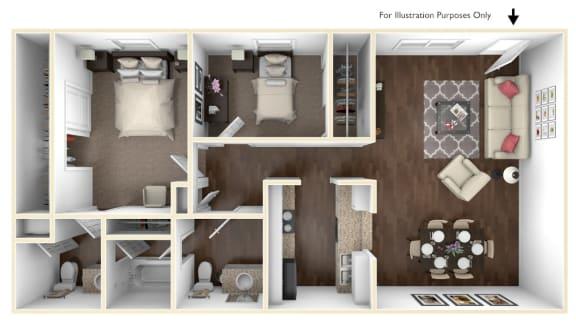 Floor Plan  Beverly Palms - 2 Bedroom 1.5 Bathroom B vFloor plan at The Life at Beverly Palms, Pasadena