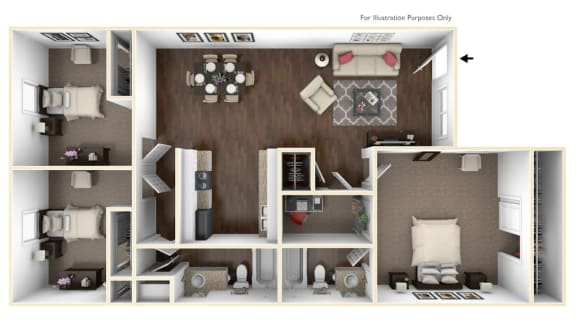 Floor Plan  Three Bedroom Apartment Home in Pasadena, TX