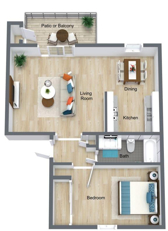 Floor Plan  1 Bedroom   1 Bathroom B