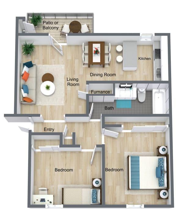 Floor Plan  2 Bedroom   1 Bathroom A