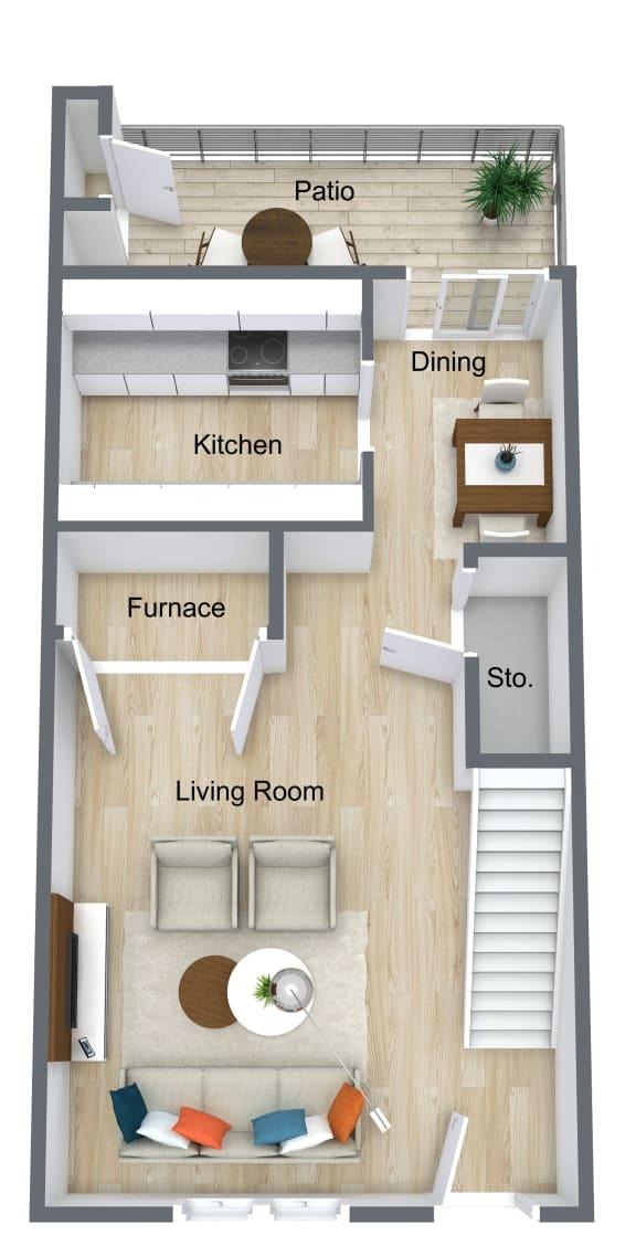 Floor Plan  2 Bedroom | 1 Bathroom Townhome