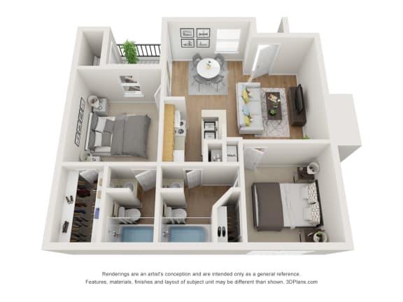 Floor Plan  2 Bedroom | 2 Bathroom