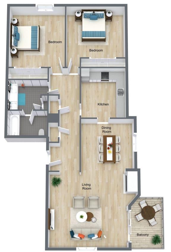 Floor Plan  2 Bedroom 1 Bathroom floor plan at The Life at Legacy Fountains, Missouri, 64131