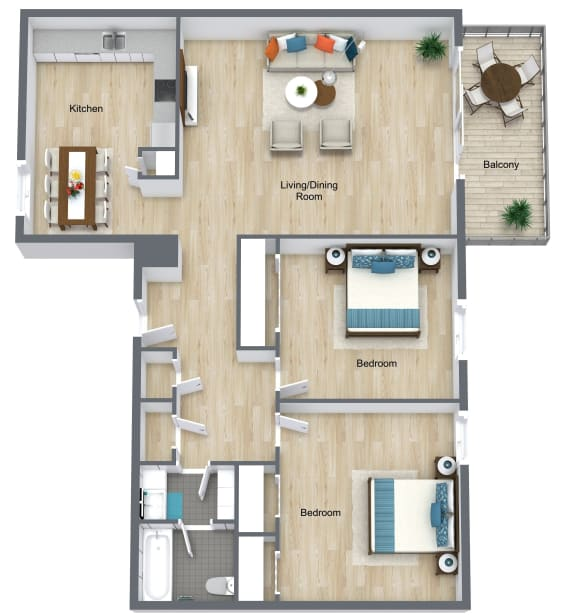 Floor Plan  2 Bedroom 1 Bathroom A at The Life at Legacy Fountains, Kansas City, MO