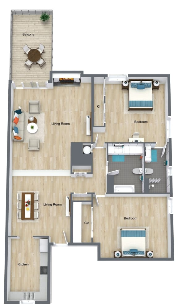 Floor Plan  2 Bedroom 2 Bathroom B floor plan at The Life at Legacy Fountains, Missouri, 64131